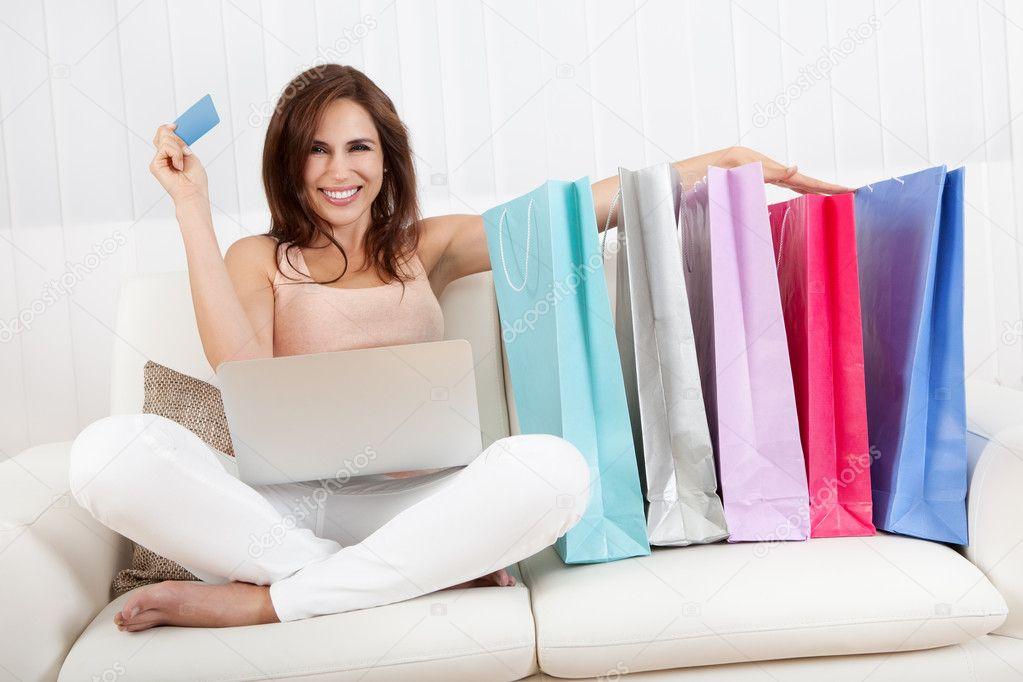 Smiling Female Shopping Online
