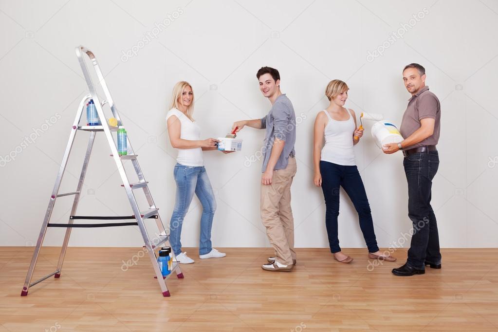 Family teamwork during home maintenance