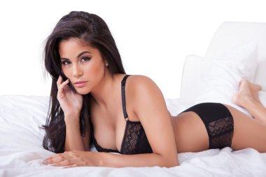 Beautiful woman in black lingerie