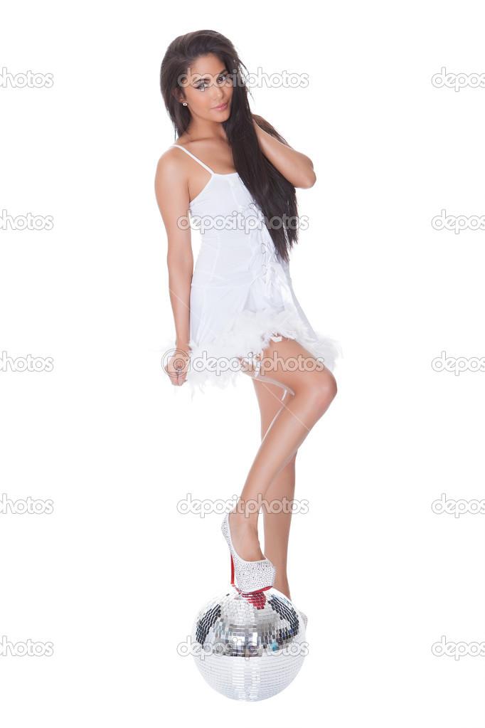 Frau in Party-Kleid mit Discokugel — Stockfoto © AndreyPopov #13139131
