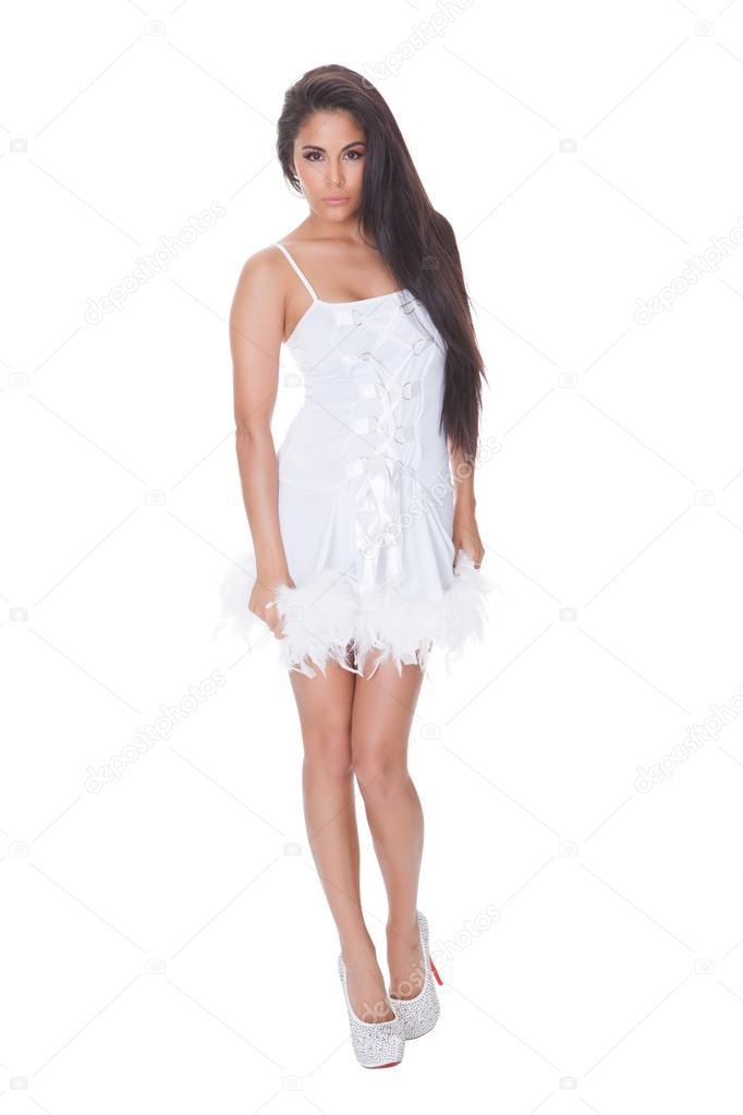 Vivacious woman in a cocktail dress