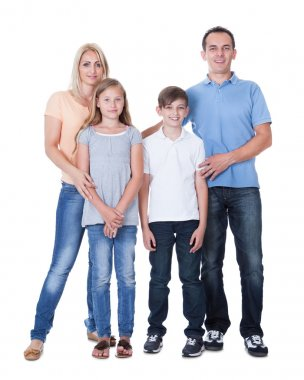 Portrait Of Happy Family On White Background