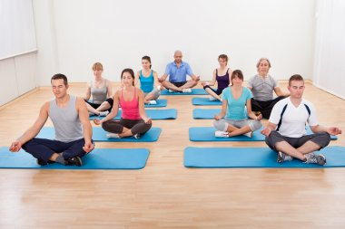 Group of practicing yoga meditating