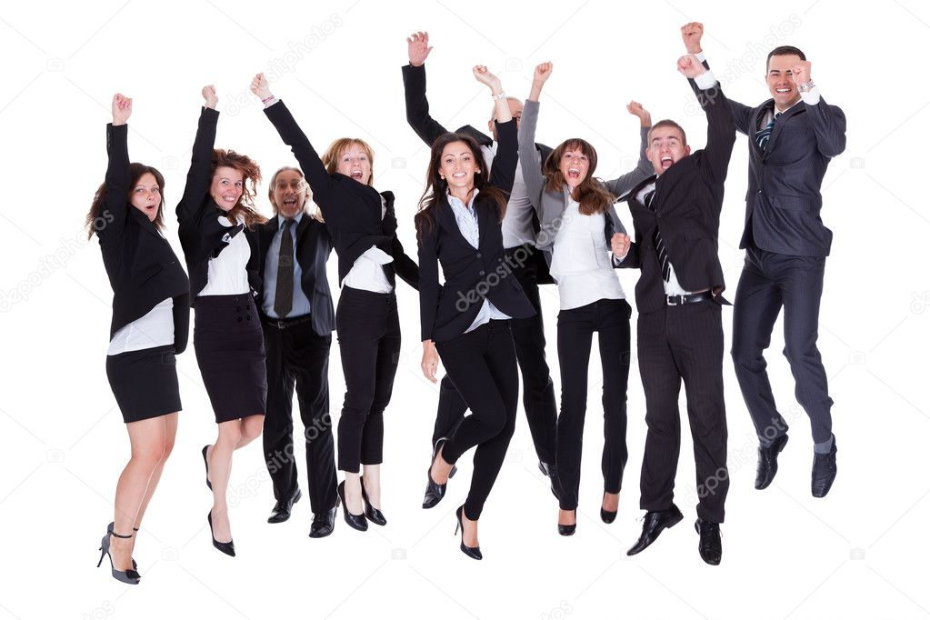 Group of jubilant business