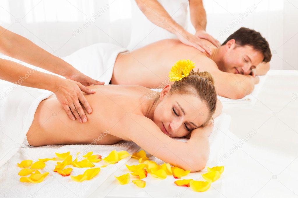 Attractive couple having a massage