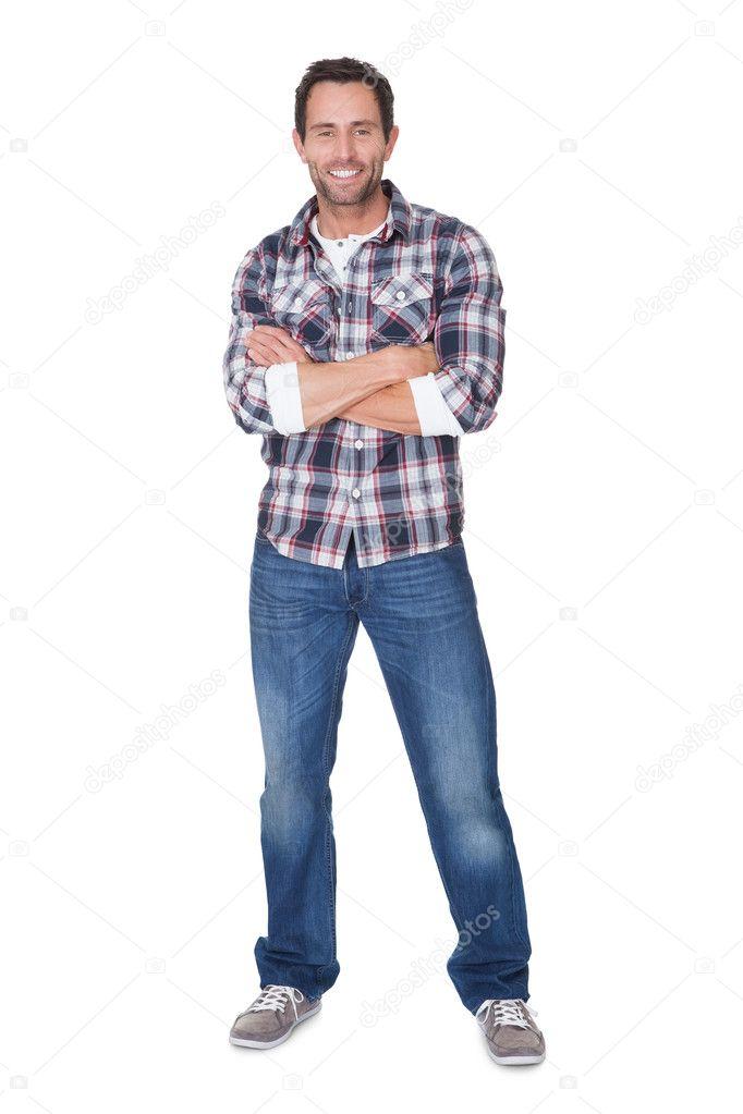 Portrait of happy middle age man