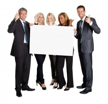 Business with thumbs up holding blank board