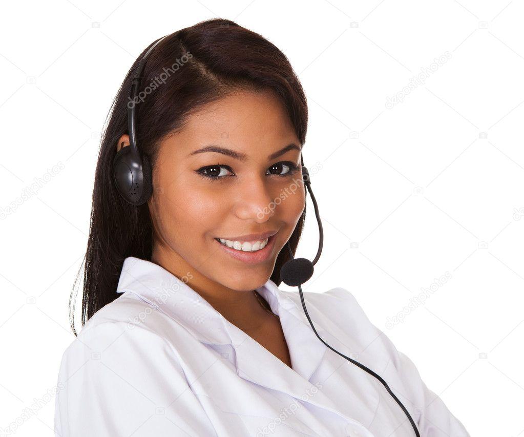 Happy Woman Wearing Headset