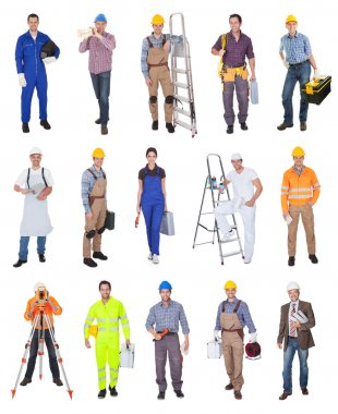 Industrial construction workers. Isolated on white background stock vector