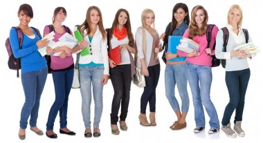Large group of female students