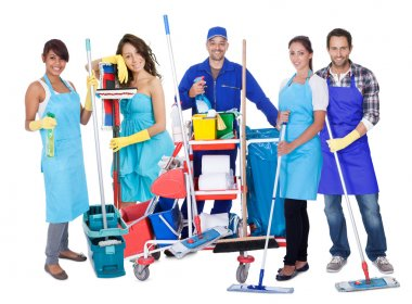 Group of professional cleaners. Isolated on white stock vector