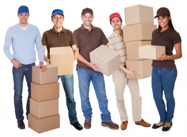 Group of delivery with boxes