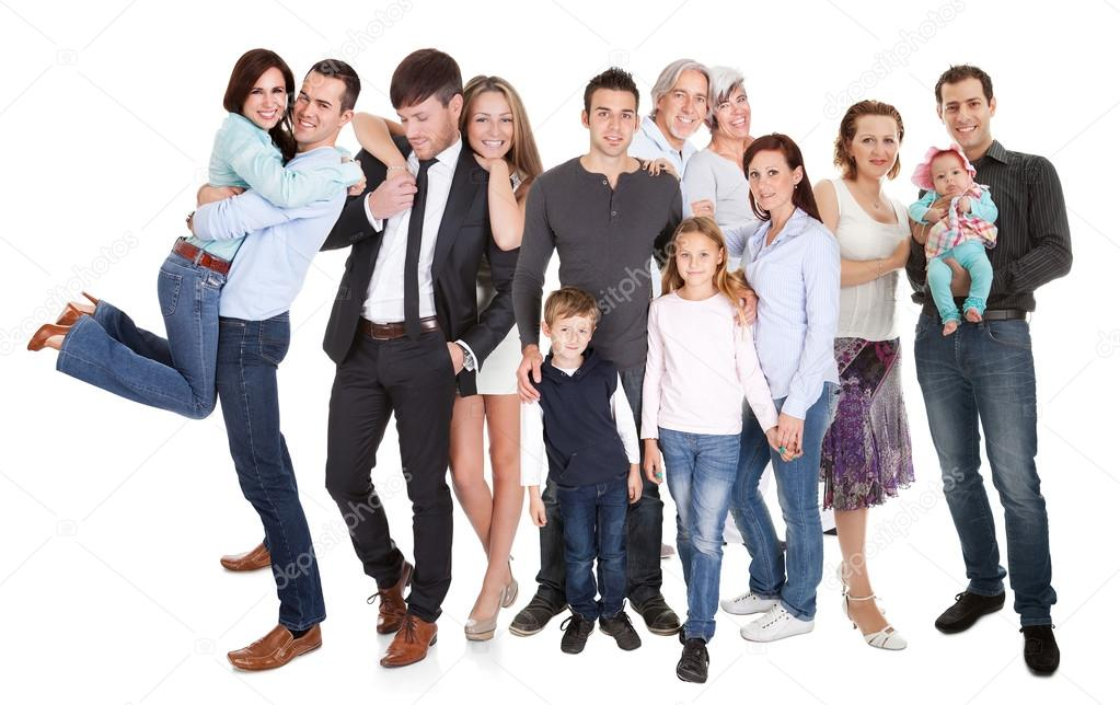 Several families with kids and couples