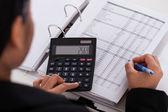 Fotografie Businesswoman Doing Calculations