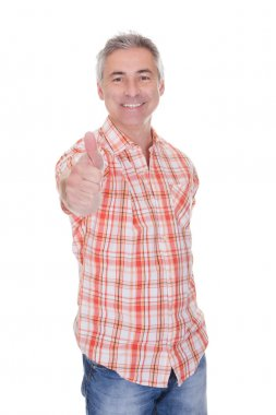 Happy Mature Man Gesturing