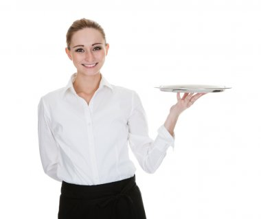 Young Waitress Holding Tray