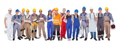 Group Of Construction Workers Standing Over White Background stock vector