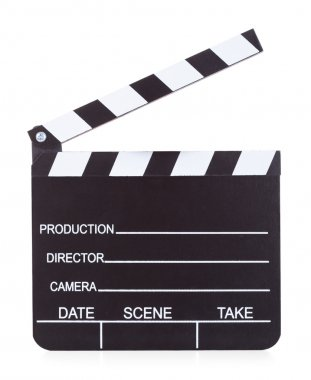 Movie Production Clapper Board On White Background