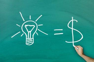 Ideas equal cash concept