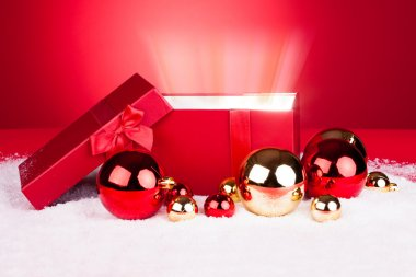 Opened Gift Box With Baubles