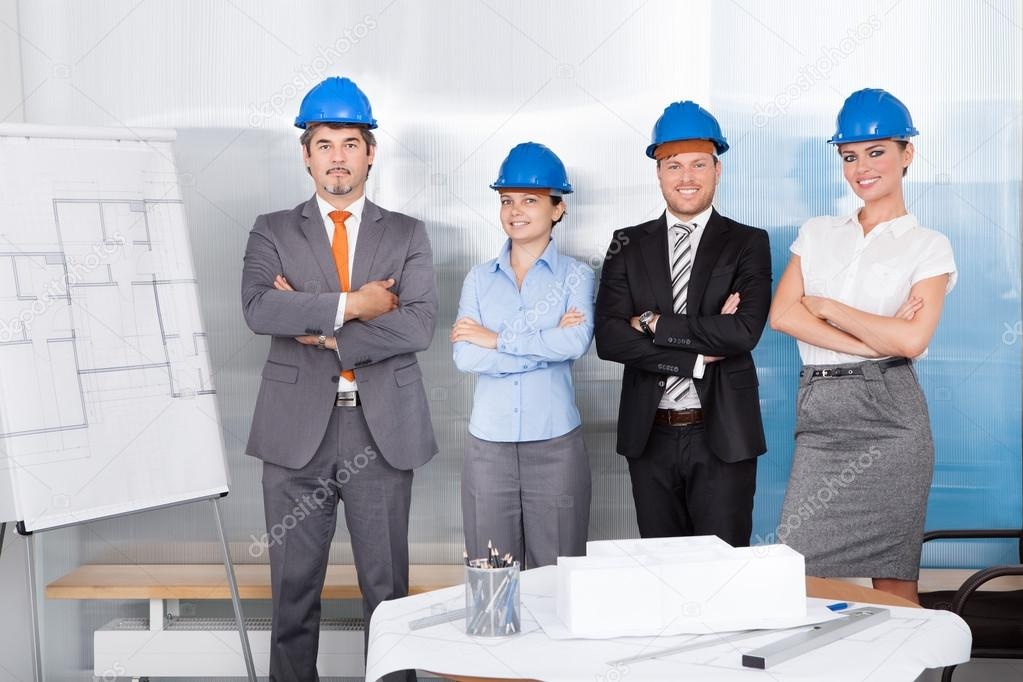 Successful Architects Standing Together  Stock Photo #34690109