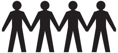 People figures holding hands.