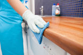 Frau putzt Küchenarbeitsplatte