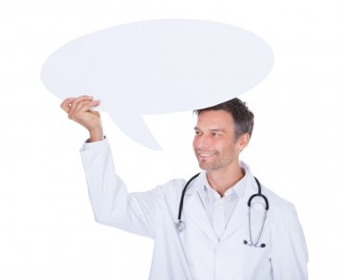 Doctor Holding Thought Bubble