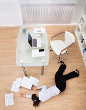 Businesswoman Fainted On Floor