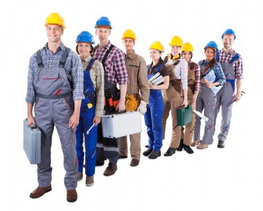 Large group of construction workers queuing up