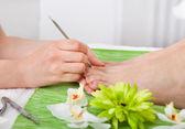 Fotografie Kosmetikerin mit Fußpflege-Behandlung