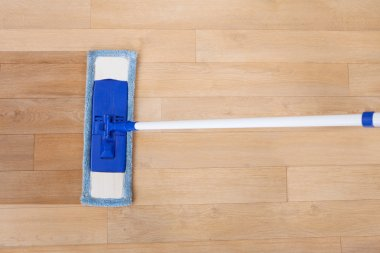 Hardwood Floor Being Cleaned By Mop