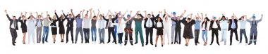 Excited People With Different Occupations Celebrating Success