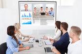 Wirtschaftsteam auf Videokonferenz