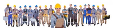 Construction Worker With Colleagues Over White Background