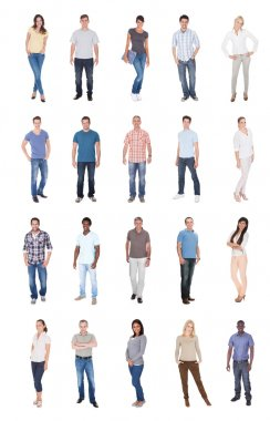 Collage of multiethnic people in casuals over white background stock vector