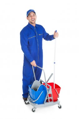 Man Cleaner  With mop