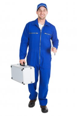 Worker With Toolkit And Wrench