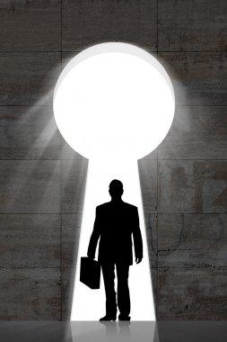 Businessman In Keyhole