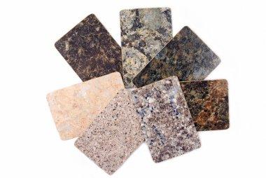 Granite kitchen worktop samples isolated on white