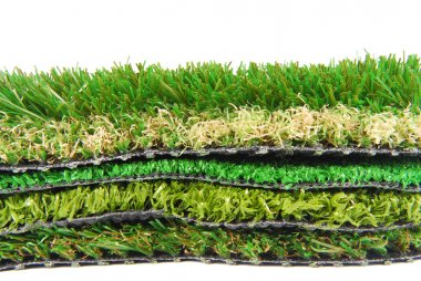 Artificial grass astroturf selection isolated on white