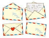 Set of mail in doodle style