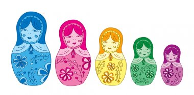 Russian matryoshka doll with floral pattern