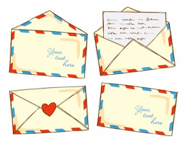 Set of mail in doodle style stock vector