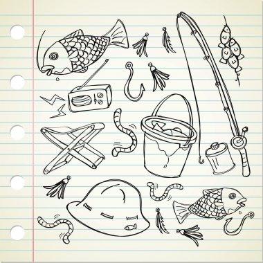Fishing stuff doodle