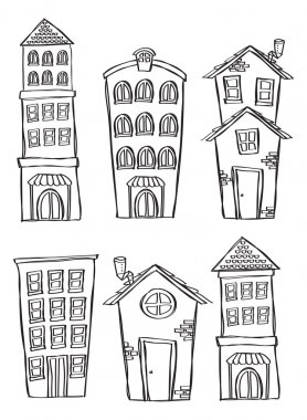 Set of building in doodle style