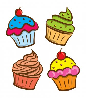 Cupcake and yogurt icon in doodle style