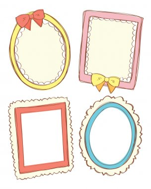 Set of cute frame in doodle style