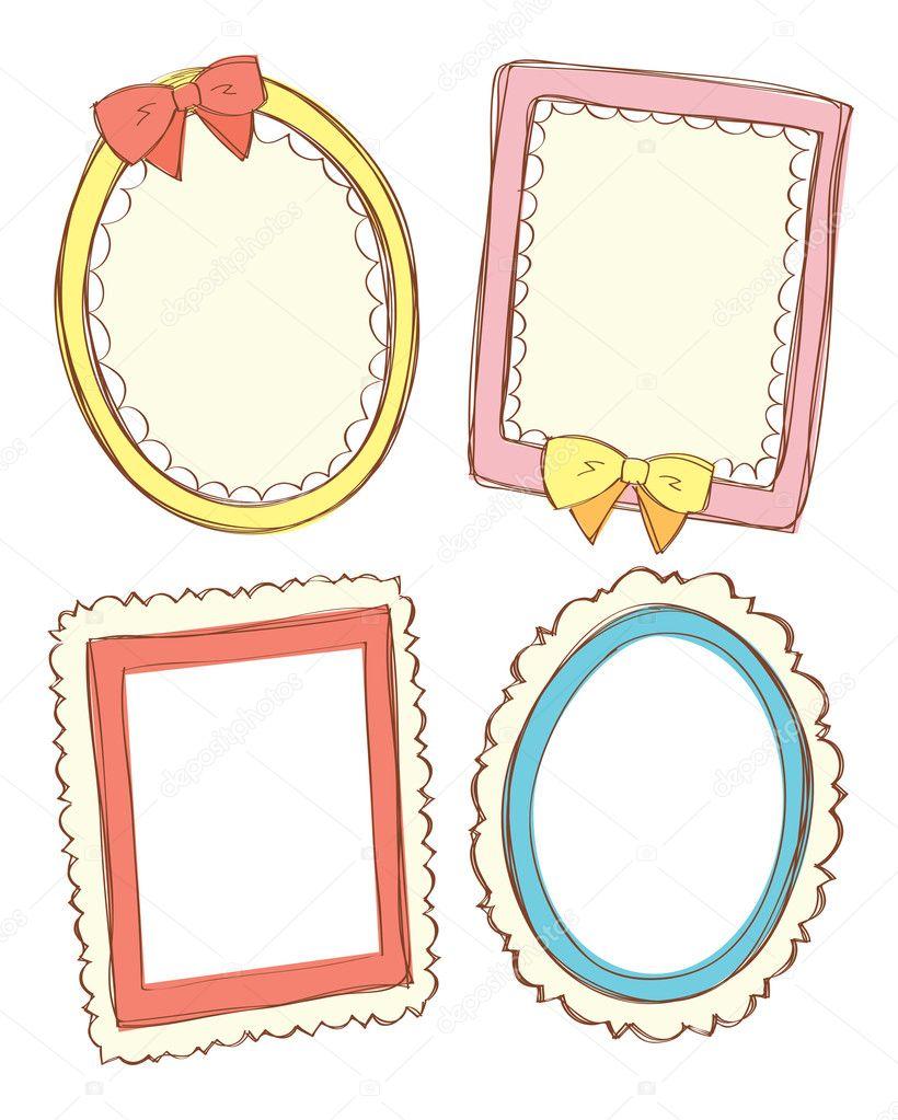 conjunto de marco lindo en estilo doodle — Archivo Imágenes ...