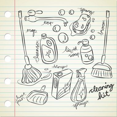 Set of cleaning kit doodle